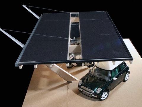 Designer-Carport Ansicht von oben mit Glasaussparungen